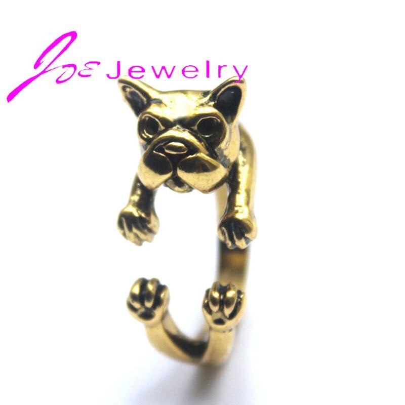 10pcs Handmade Gold French Bulldog Rings Vintage Pitbull Dog Rings Fashion Jewelry Wholesale