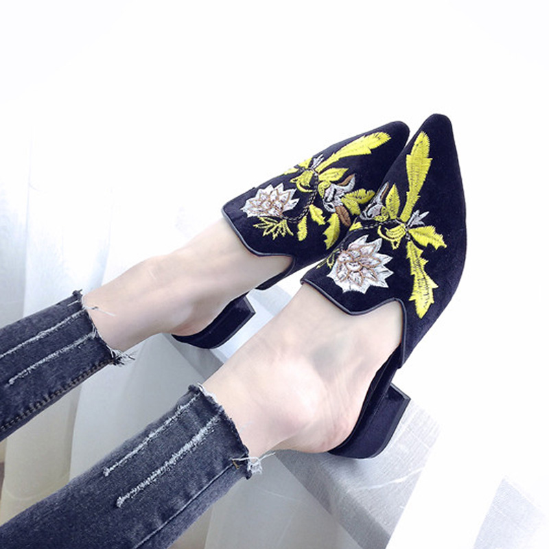 2018 3d Embroidery Women Slippers Flower Decoration Velvet Mules Shoes Woman Slides Flats On Sandals Ladies Half Slippers Shoes phyanic fashion women s slide on slip on mule star bee embroidery loafer flats shoes slides slippers new woman mules outside