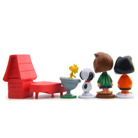 12pcs/pack Cut Anime Peanuts Figurine Charlie Brown And Friends Beagle Woodstock Miniature Model kids toy gift Animiation Action 5