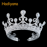 Hadiyana Brand Big CZ Crystal Rhinestone Crown Heart Drop Luxury Wedding Diadem Crowns for Women Bridal Tiaras Pageant BC3104