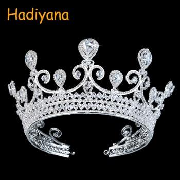 Hadiyana Brand Big CZ Crystal Rhinestone Crown Heart Drop Luxury Wedding Diadem Crowns for Women Bridal Tiaras Pageant BC3104