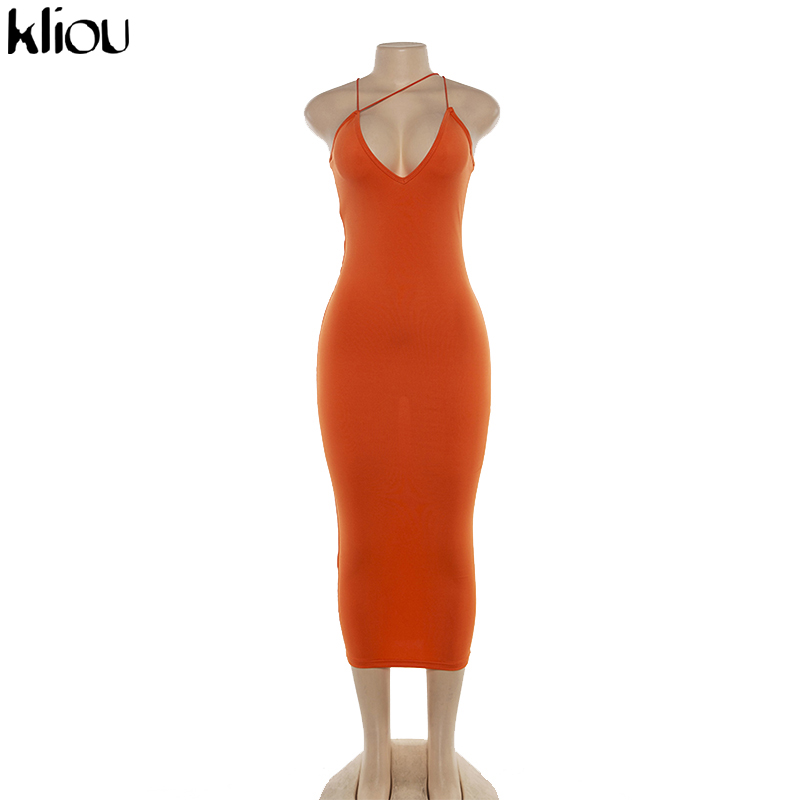 Kliou 2019 summer women sexy strap v-neck dress solid Neon color sleeveless skinny long dress female fashion vacation clothes 7