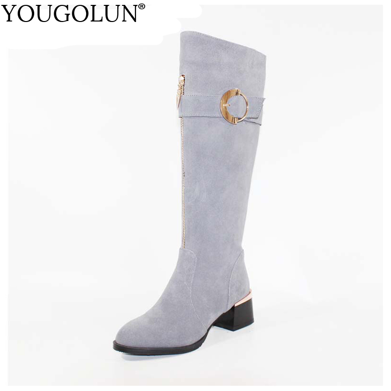 YOUGOLUN Women Knee High Boots 2017 Winter 100 % Full Genuine Cow Suede Nubuck Leather Buckle Thick Heels 5 cm Grey Shoes #Y-196 yougolun women ankle boots 2018 autumn winter genuine leather thick heel 7 5 cm high heels black yellow round toe shoes y 233