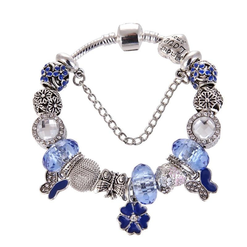 High Quality Blue crystal Flower Pendant Noble Pretty Charm Bracelet Pandora Bracelet For Women/Gril gift jewelry Drop Shipping