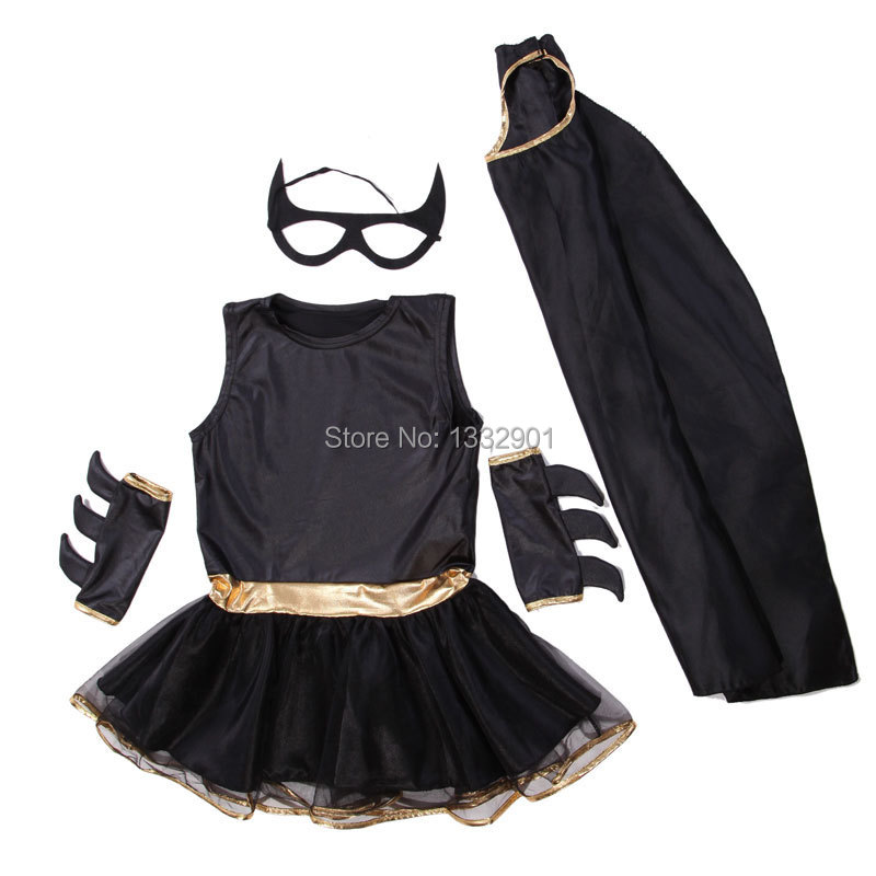 Kids Girls Superhero Batgirl Costume Fancy Dress Up 3 7 Years Old In