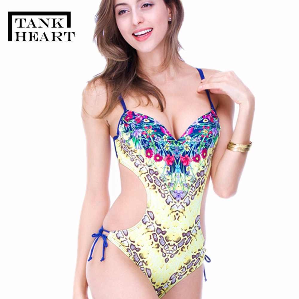 a2ecd9e535c Tank Heart Print One Piece Swimsuit Bathing Suit Women Plus size Swimwear  Women Bikini Push Up