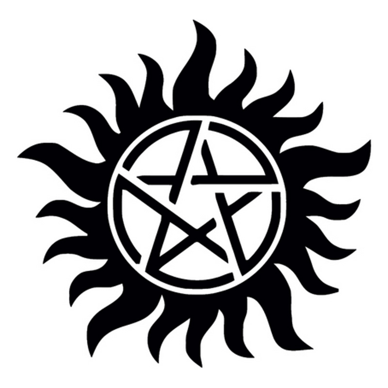 15cm*15cm Supernatural Anti Posession Cartoon Vinyl Stickers Decals Car Styling Black/Silver S3-4648