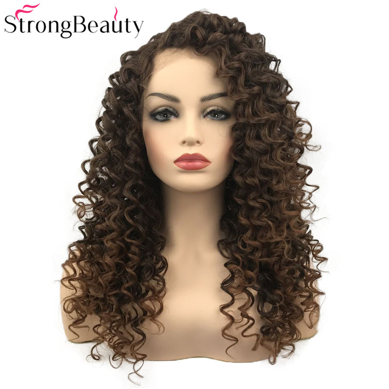 Strong Beauty Long Synthetic Wigs Curly Hairpiece Heat Resistant Lace Front Wigs 14 Colors