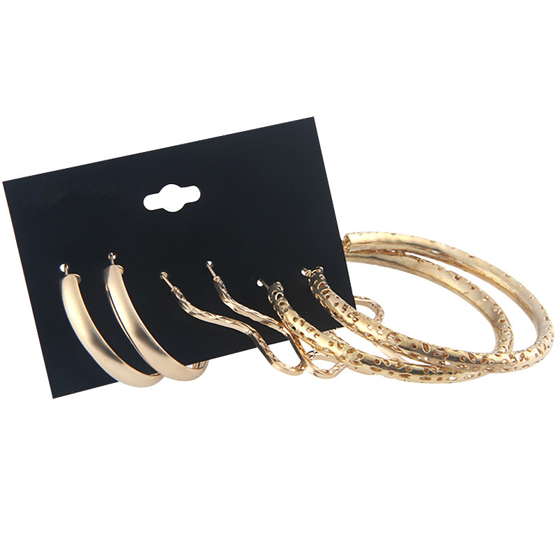 YANG&RH New Design Big Hoop Earrings For Women Gold Color Star/Circle Earrings Set Hollow Out Design Steampunk Ear Accessories