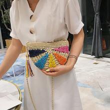 2019 Летняя женская модная пляжная сумка мессенджер соломенная