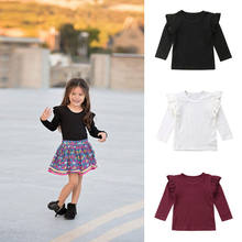 PUDCOCO Newest Fashion Toddler Baby Girl Cotton Long Sleeve casual T-shirts Tops Ruffle Tee Autumn Outfit 1-5T(China)