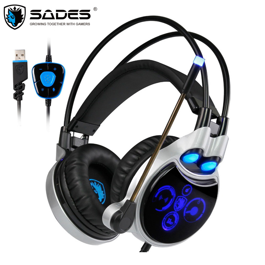 Original Sades R8 USB Stereo Gaming Headphones fone de ouvido Virtual 7.1 Surround Sound Headset Gamer with Micropone LED LIGHT