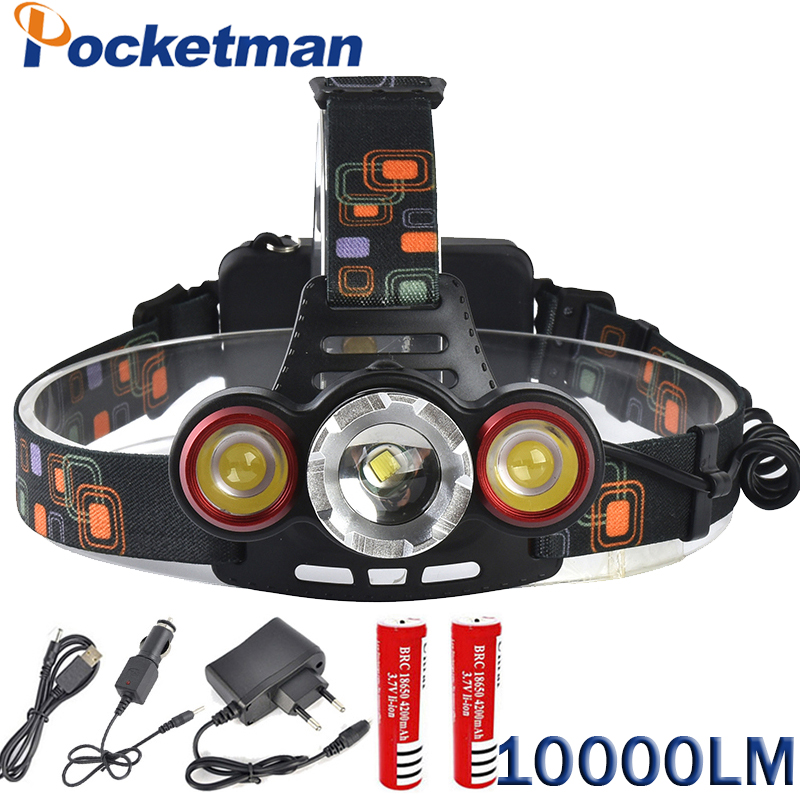 10000LM LED Headlamp XML T6 Headlight Lamp Lantern Front Lampe Torche Hiking Camping Riding Fishing Light