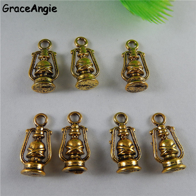 GraceAngie 20PCS Personality Handmade Crafts Bracelet Charm Antique Gold Alloy Small oil lamp Pendant Metal Jewelry DIY Man Gift