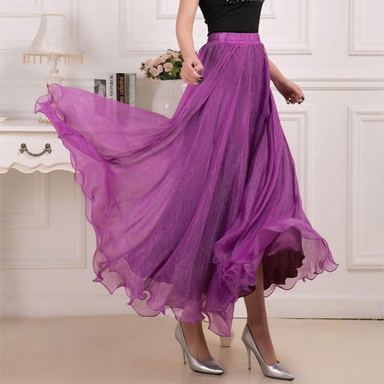 Sherhure 19 High Waist Women Chiffon Long Skirts Floor Length Ruffles White Summer Boho Maxi Skirt Saia Longa Faldas 30