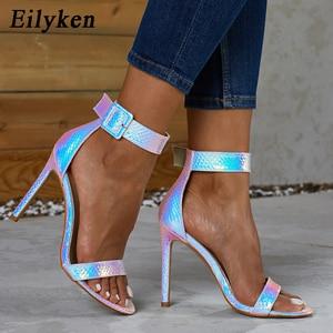 Image 1 - Eilyken Zomer Zilver Blauw Serpentine Peep Toe Hoge Hak Vrouwen Sandalen Sexy Gesp Ankle Wrap Dames Sandalen Club schoenen
