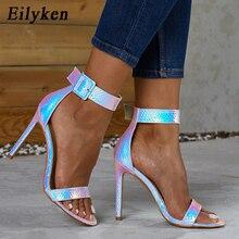 Eilyken yaz gümüş mavi serpantin Peep Toe yüksek topuk kadın sandalet seksi toka askı ayak bileği wrap bayanlar sandalet kulübü ayakkabı