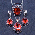 Charming Red Garnet 925 Sterling Silver Jewelry Sets For Women Earrings/Pendant/Necklace/Rings Free Gift Box&Free Shipping