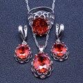 Encanto Rojo Granate Plata de Ley 925 Sistemas de La Joyería Para Las Mujeres Pendientes/Colgante/Collar/Anillos Caja de Regalo Libre y el envío Libre