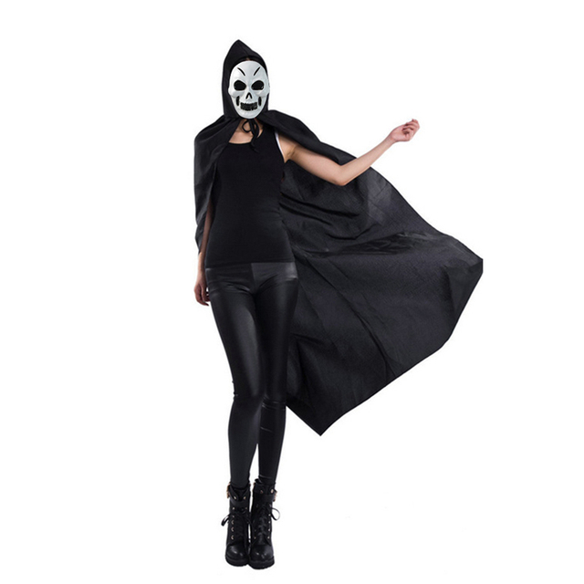 halloween decoration festival god of death cloak hooded cape witch adult devil robe floor length cosplay