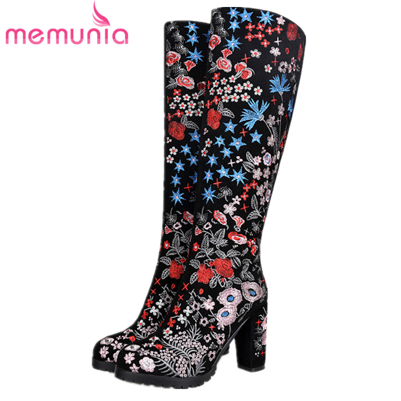 MEMUNIA Spuer heels shoes knee high boots for women in autumn winter boots female cow suede fashion boots embroidery Chinese morazora new china s style knee high boots flowers embroidery spring autumn boots for women zipper cow suede med heels boots