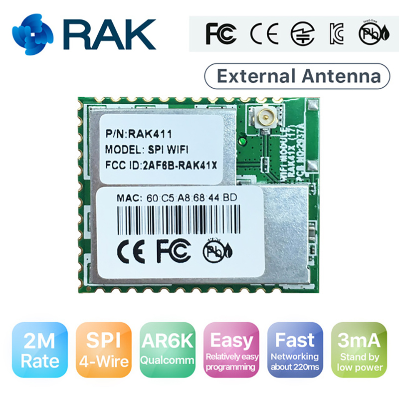 2Mbps High Speed SPI WiFi Module Ultra Low Power Industrial Grade IoT Module Integrated Embedded TCP/IP Protocol 4-wire SPI Q128 rak475mb low power tiny size uart serial to wifi industrial module wireless iot module ap sta mode telec ce fcc kcc certify q115