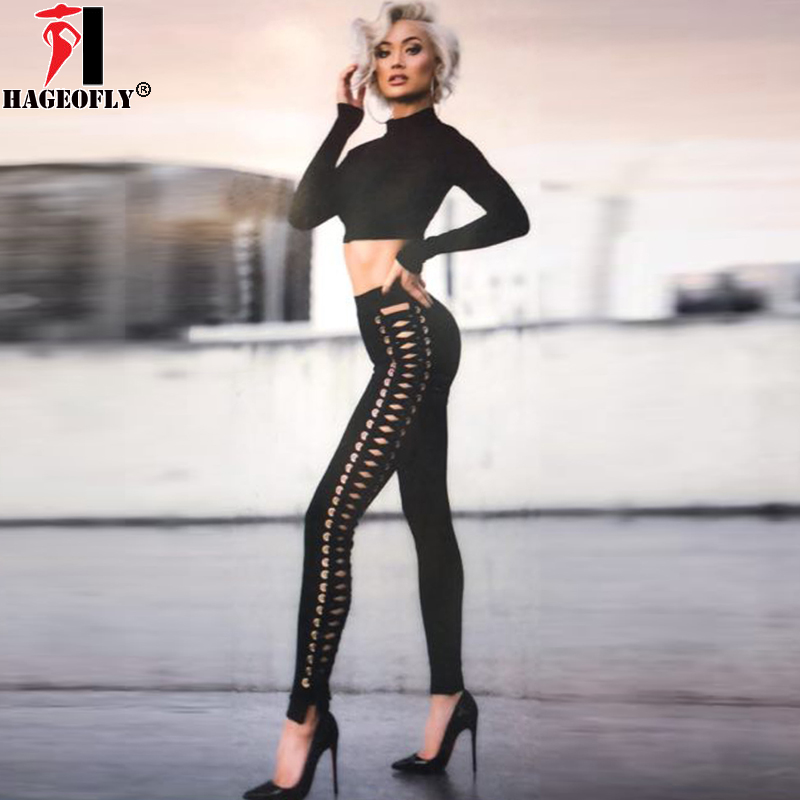 HAGEOFLY 2018 New Bandage Pants Black Fashion Luxe Metal Circle Lace Up Pencil Pants Women Leggings Summer Sexy Party Pants Lady artificial leather splicing lace bandage leggings black