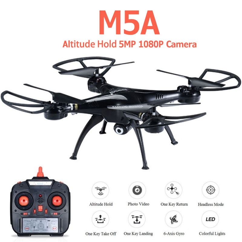 M5A RC Drone With 5MP 1080P HD Camera With 2.4GHz 4CH 6-Axis Altitude Hold Quadcopter Helicopter Profissional Dron VS Syma X5C
