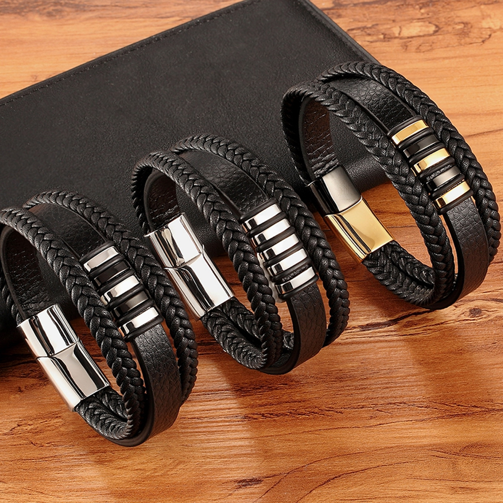 New 3 Layers Black Gold Punk Style Design Genuine Leather Bracelet for Men Steel Magnetic Button