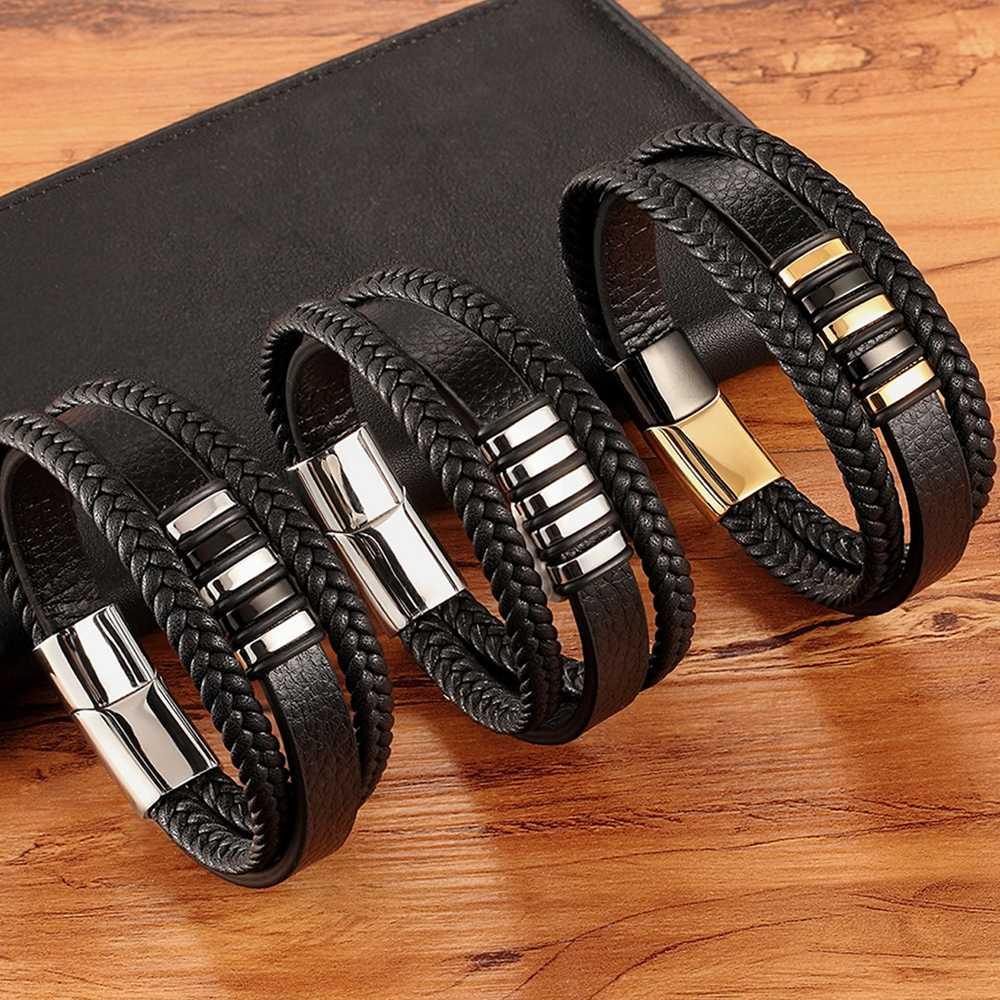 Yeni 3 Katmanlar Siyah Altın Punk Stil Tasarım Erkekler için Hakiki Deri Bilezik Çelik Manyetik Düğme doğum günü hediyesi Erkek Bilezik