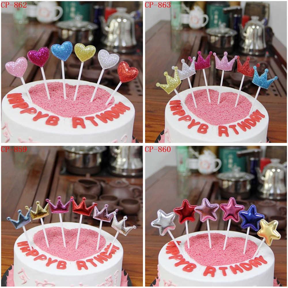 Décoration de gâteau en couronne adorable cœur étoile | Drapeau de cupcake, fournitures de décoration pour fête prénatale mariage