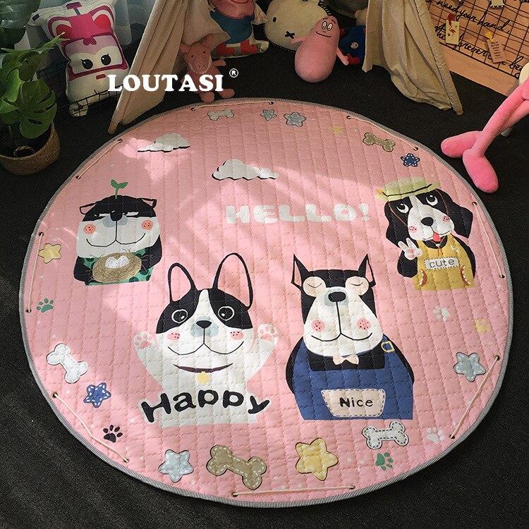 LOUTASI rond bande dessinée bébé tapis tapis de sol tapis couverture bébé doux tapis de jeu enfants jouer jeu literie tapis avec sac de rangement