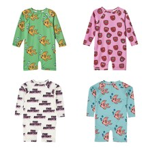 цены baby girl swimwear long sleeve kids swimsuit children one piece cute cartoon pattern korean baby boy gold outfits for kids