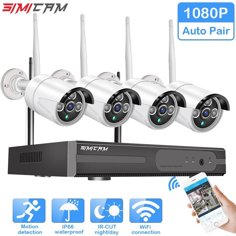 Wireless CCTV System 1080P Hard Drive Video 2MP 4CH NVR IP IR CUT font b outdoor