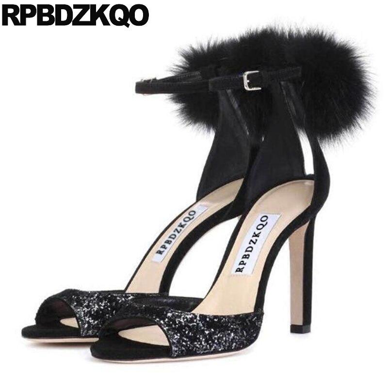 Sandals Pumps High Heels Pom Pom Sequin Designer Shoes Women Luxury 2018 Fur Nice Stiletto Paillette Peep Toe Fluffy Ankle Strap pom pom front zipper design stiletto heels