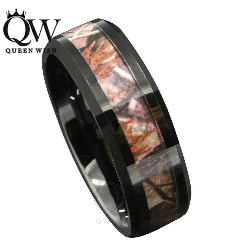 queenwish 8mm black tungsten mens red forest camouflage camo hunting band ring size 6 13 - Orange Camo Wedding Rings