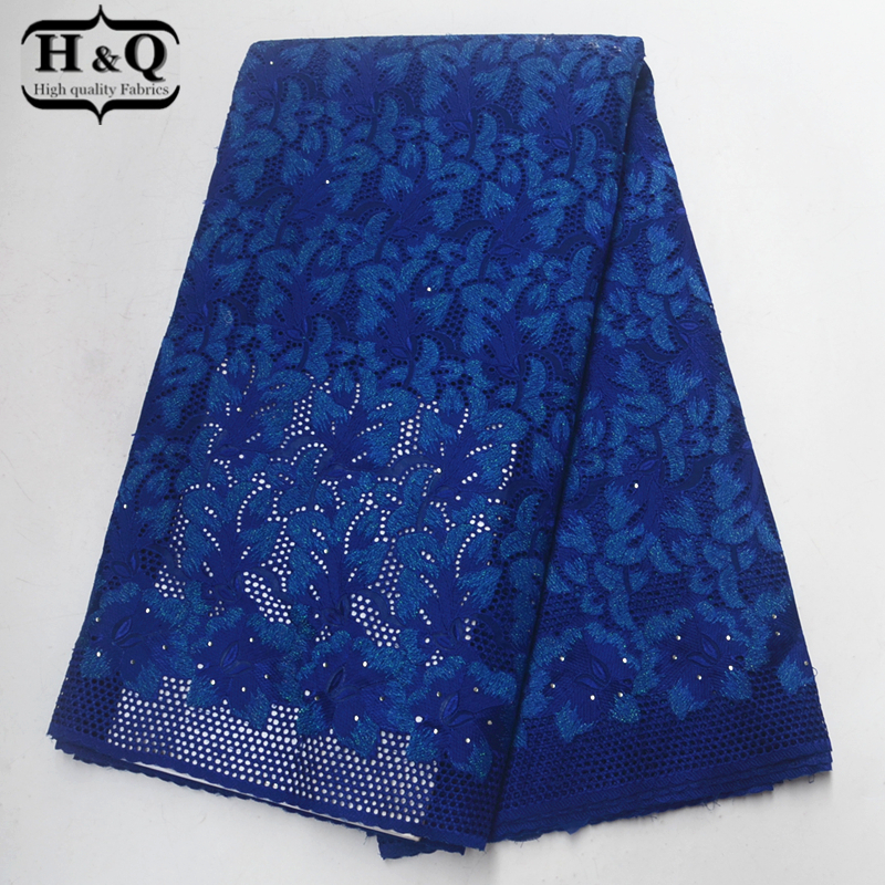 Royal blue Swiss voile lace in switzerland high quality 2019 African lace Embroidery with Stones 100% cotton 5 yards for DressesRoyal blue Swiss voile lace in switzerland high quality 2019 African lace Embroidery with Stones 100% cotton 5 yards for Dresses