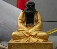 10 Тибет Буддизм храм Бронзовый Gild Дхарма Бодхидхарма предки статуя