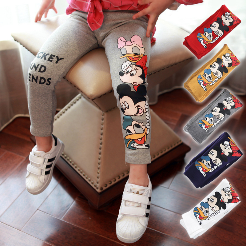 2018 Spring Autumn Baby Girls Leggings Pant Cartoon Mickey Minnie Kids Pants Elastic Waist Children Leggings Girls Casual Pants 2018 spring girls and boys fashion loose straight elastic waist plaid cotton pants kids children casual wholesale long trousers