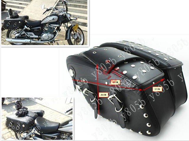 Motorcycle Pu Leather Side Bag Saddle Bags For Street Bike Dual