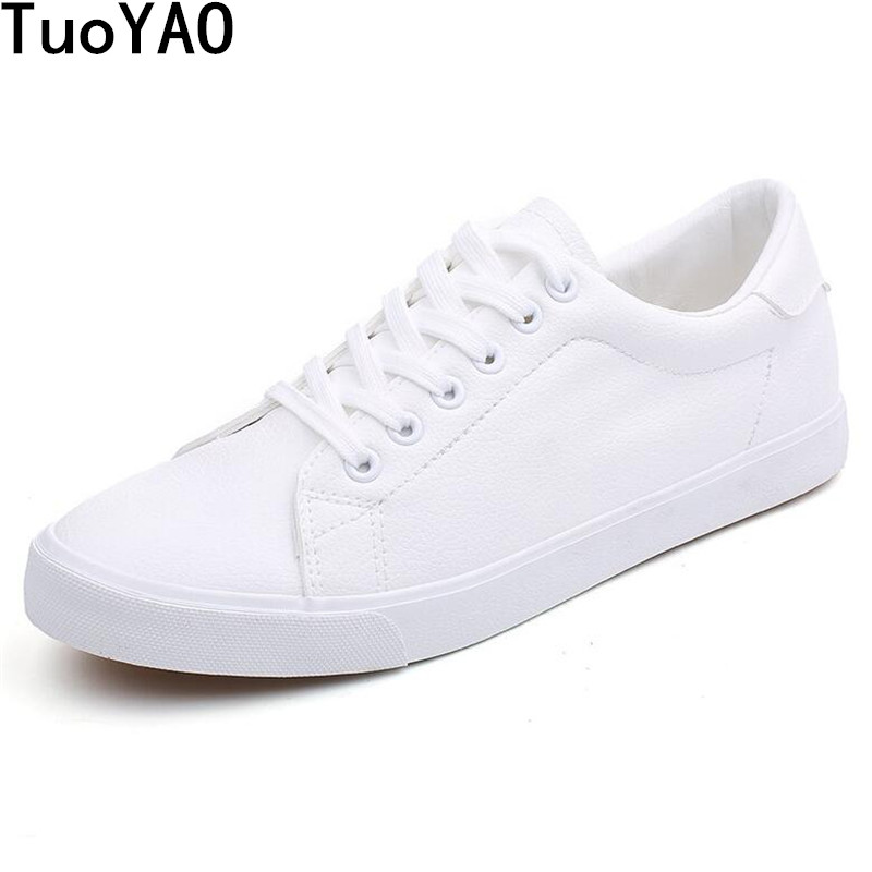 High Quality Men's Shoes Spring Autumn PU Leather Lace-Up White Black Style Light Breathable Fashion Sneakers Vulcanized Shoes