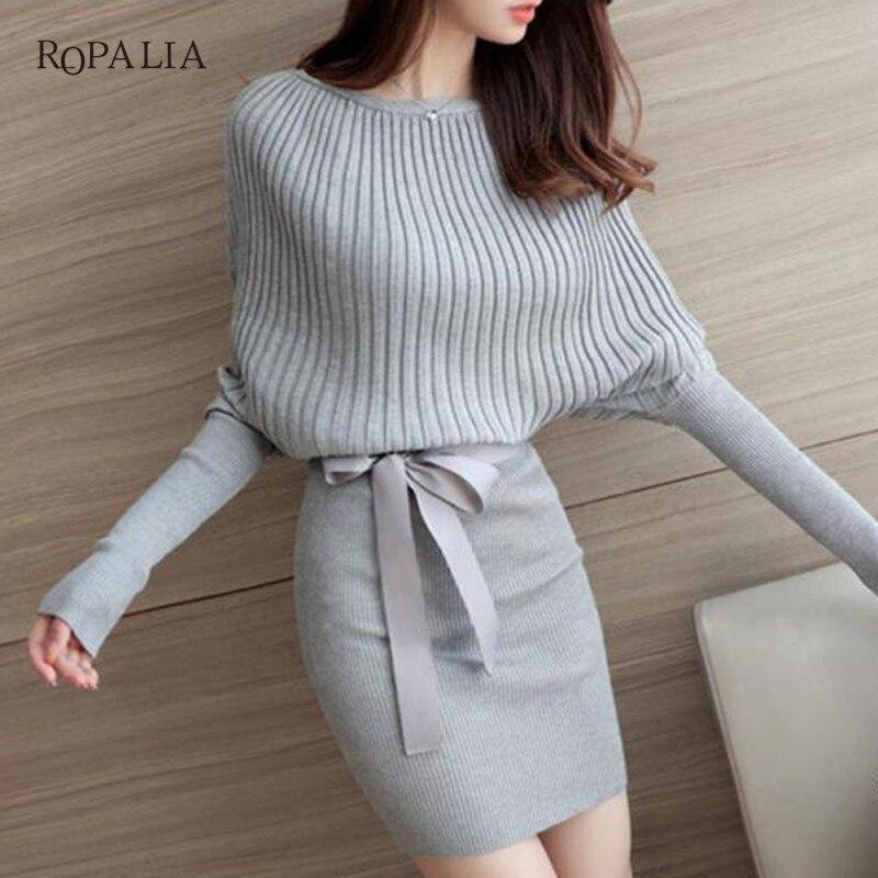 ROPALIA Casual Long Knitted Sweater Dress Women Cotton Slim Bodycon Dress Pullover Female Autumn Winter Dress