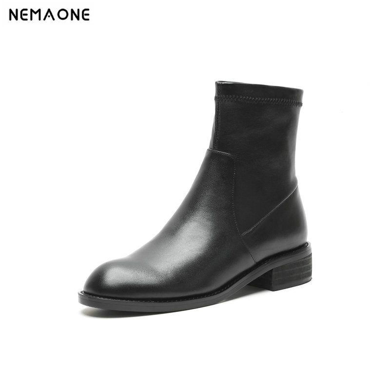 NemaoNe 2018 new style genuine leather ankle boots rouned toe thick heel chelsea boots cow leather women boots ladies shoes 2018 autumn new style genuine leather ankle boots pointed toe thick heel chelsea boots calf leather women boots ladies shoes