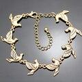 Ouro do vintage Multi 3D Esculpida Da Pomba Da Paz Pássaro Andorinha Cadeia Charm Bracelet Bangle Jóias 2017 Nova