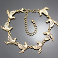 Vintage Gold Multi 3D Peace Dove Carved Bird Swallow Chain Charm Bracelet Bangle Jewelry 2017 New