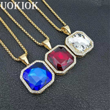 цены на Hip Hop Iced Out Square/Water Drop/Round/Oval Pendant Necklace For Women/Men Gold Color Stainless Steel Rhinestone Bling Jewelry