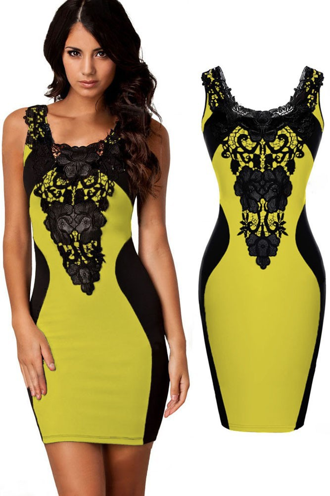 Yellow-Sexy-Lace-Contrast-Cocktail-Party-Evening-Bodycon-Dress-LC21548-4