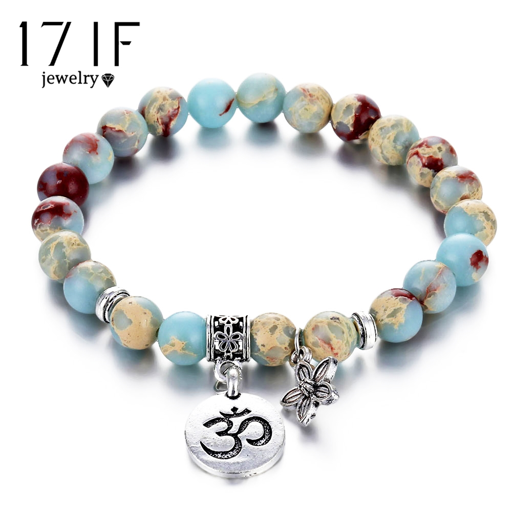17IF Trendy OM Rune Strand Bracelets & Bangles For Women Men Natural Stone Handmade Cuff Wristband Beads Yoga Bracelet Gift New