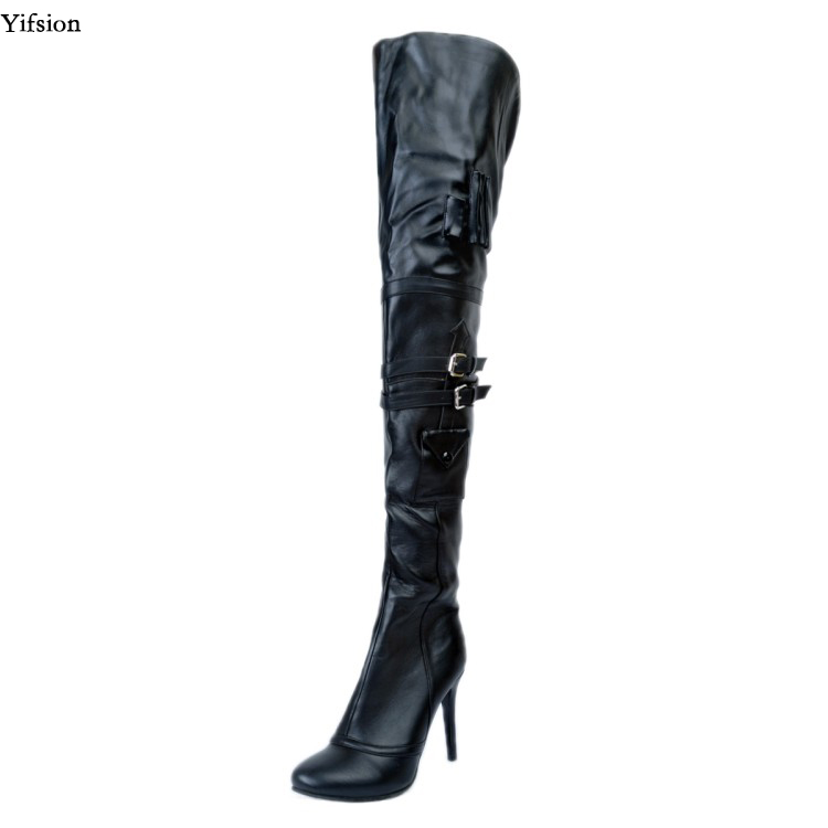 Yifsion New Women Winter Over The Knee Boots Sexy Thin High Heel Shoes Black Club Wear Shoes Ladies Round Toe Women US Size 4-15 yifsion women ladies platform over the knee boots sexy thin high heels boots fashion round toe wine red shoes women us size 4 15