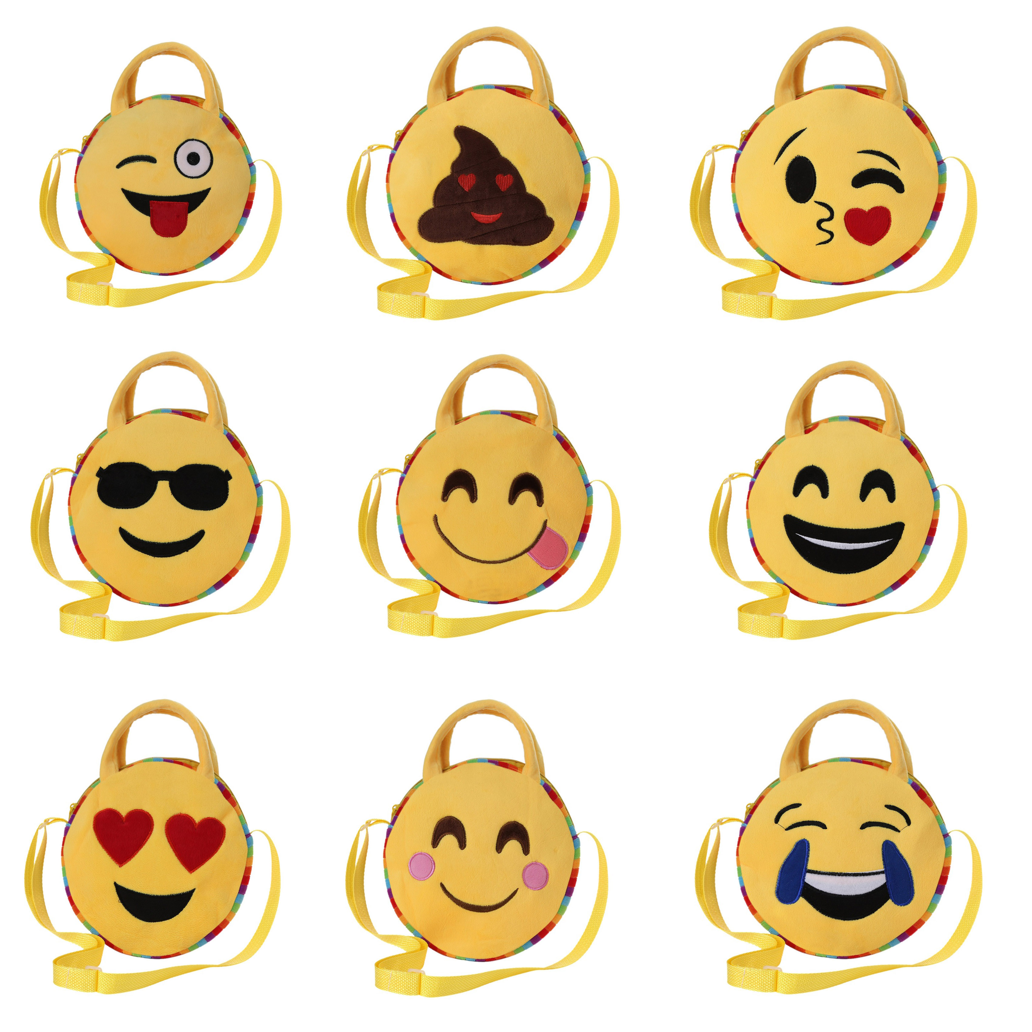 2017 New 10 Styles Cute Girls Satchel Cartoon Emoji Emoticon Bag Plush Backpack Handsbag Mini Whatsapp Emoticon Bags for Child